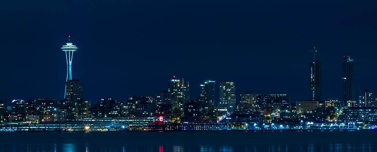 Vista notturna di Seattle - Skykine