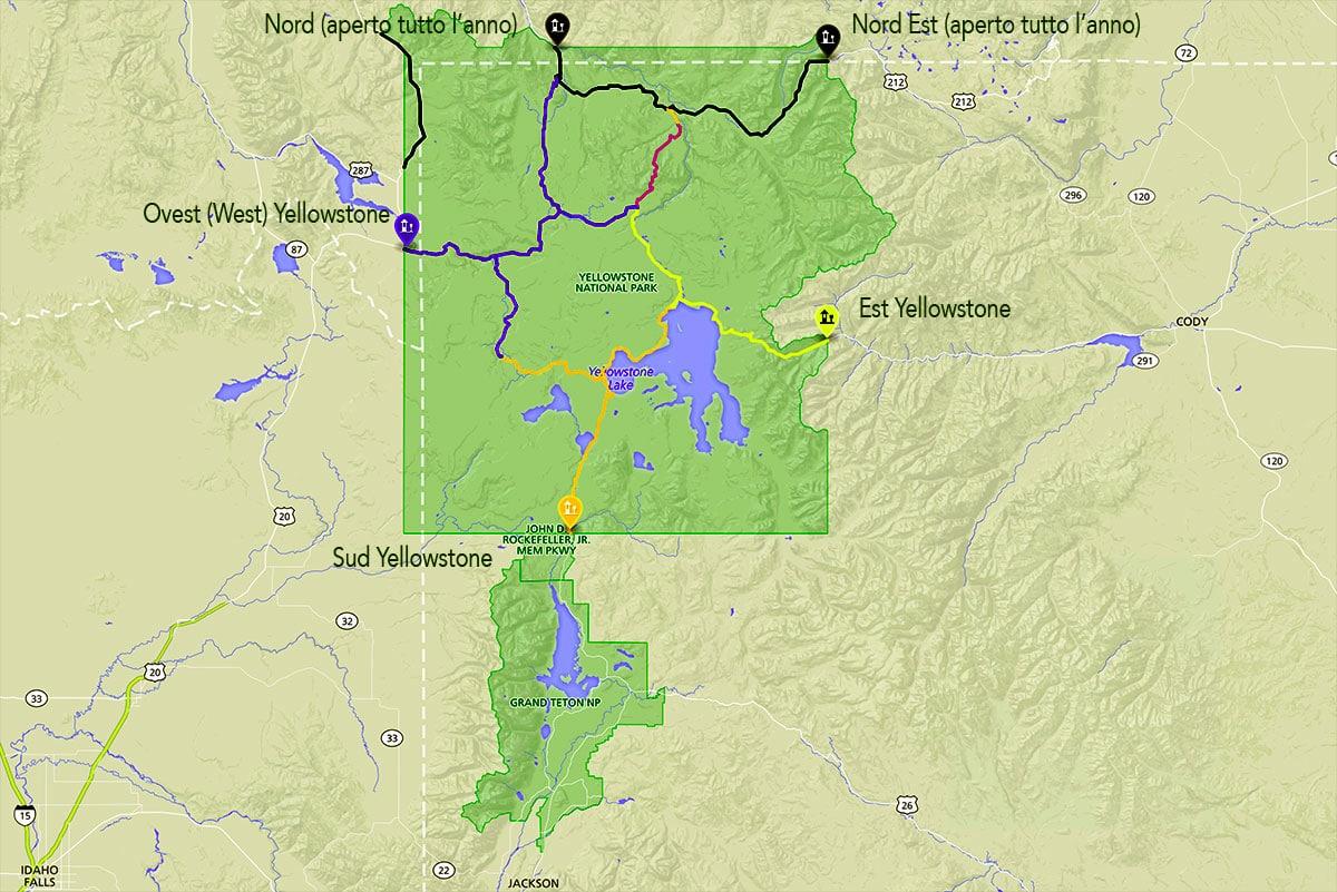 Mappa del Parco per programmare le cose da fare a Yellowstone