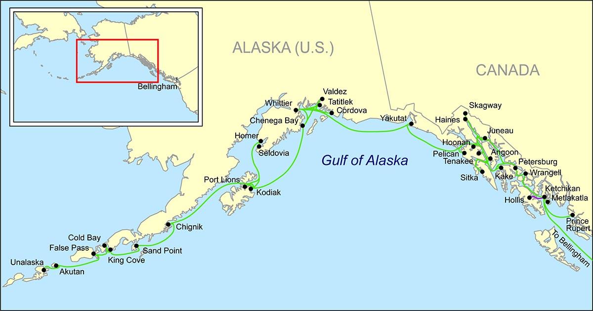 cartina Alaska Marine Highway System