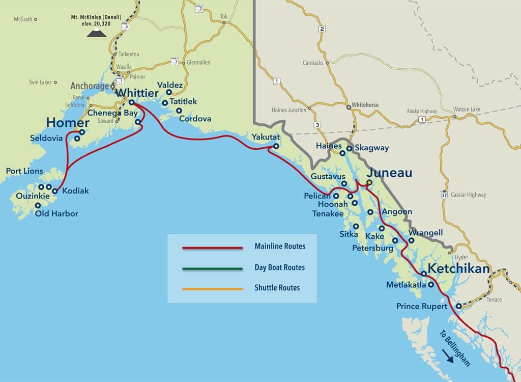Cartina Alaska Marine Highway: il golfo dell'Alaska
