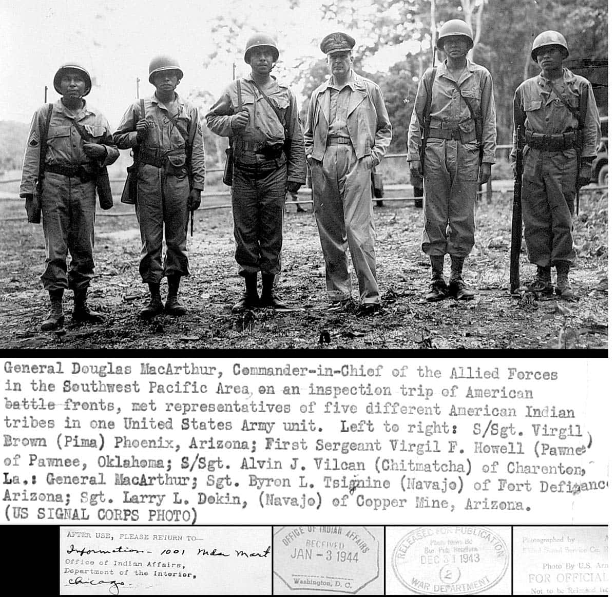 General douglas macarthur meets american indian troops wwii military pacific navajo pima island hopping